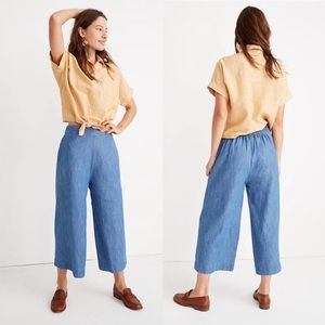 Madewell Linen Blend Chambray Huston Pull-On Crop
